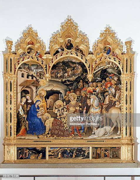 Adoration of the Magi by Gentile da Fabriano 15th Century tempera on panel 303 x 282 cm Italy Tuscany Florence Uffizi Gallery Whole artwork view A...