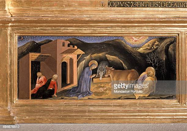 Adoration of the Magi by Gentile da Fabriano 15th Century tempera on panel 303 x 282 cm Italy Tuscany Florence Uffizi Gallery Detail Square...