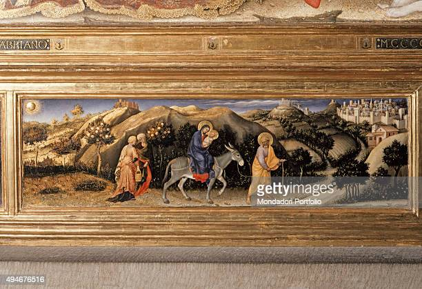 Adoration of the Magi by Gentile da Fabriano 15th Century tempera on panel 303 x 282 cm Italy Tuscany Florence Uffizi Gallery Detail Praedella of the...