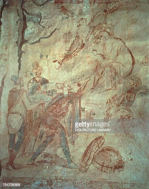 Adoration of the Magi fresco by the Master of Castelseprio Church of Santa Maria Foris Portas Castelseprio Italy 9th century