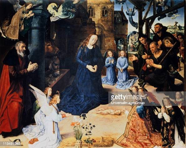 Adoration of the Shepherds' Hugo van der Goes South Netherlandish painter Flowers Iris for purity/Immaculate Conception seven flowers Columbine...