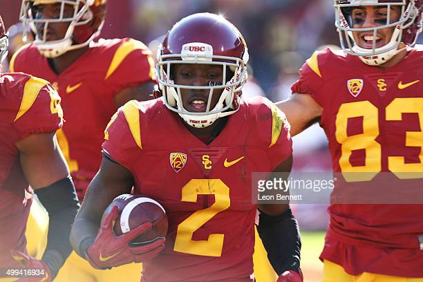 Adoree' Jackson of the USC Trojans celebates after a touch down against the UCLA Bruins in a 4021 Trojan win in a NCAA PAC12 college football game at...