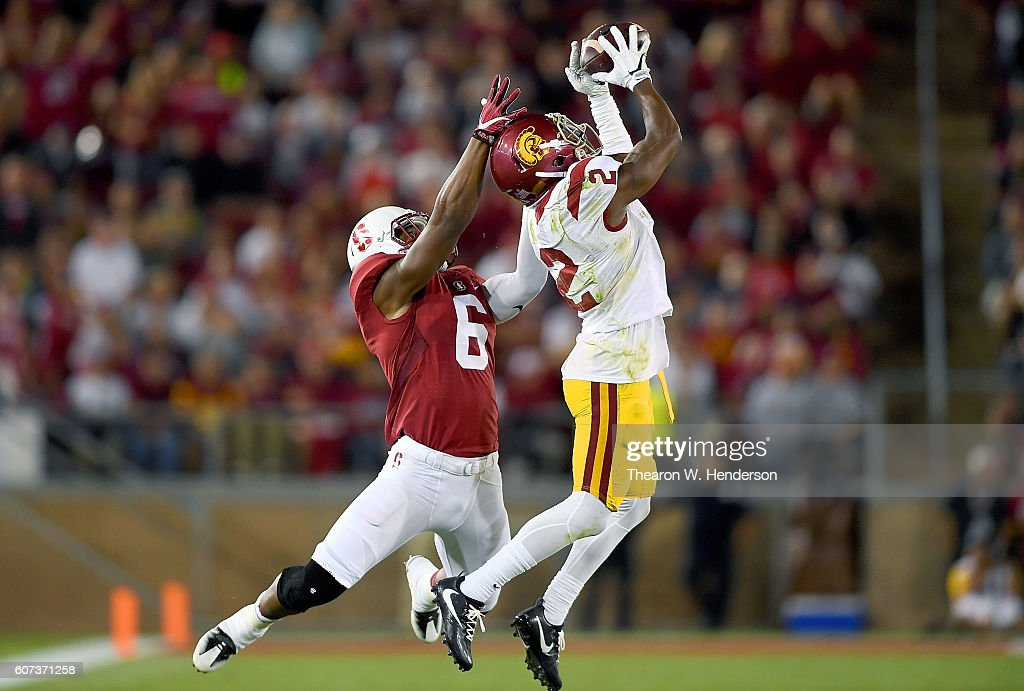 Adoree' Jackson #2 of the USC Trojans intercepts a pass intended for Francis Owusu #6 of the Stanford Cardinal during the second half of their NCAA football game at Stanford Stadium on September 17, 2016 in Palo Alto, California.