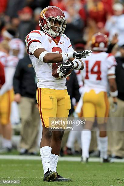 Adoree' Jackson of the USC Trojans reacts after a punt return in the first half against the Penn State Nittany Lions during the 2017 Rose Bowl Game...