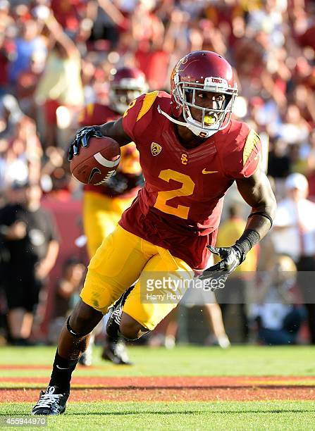 Adoree' Jackson of the USC Trojans reacts after his touchodwn to take a 317 lead over the Fresno State Bulldogs during the second quarter at Los...