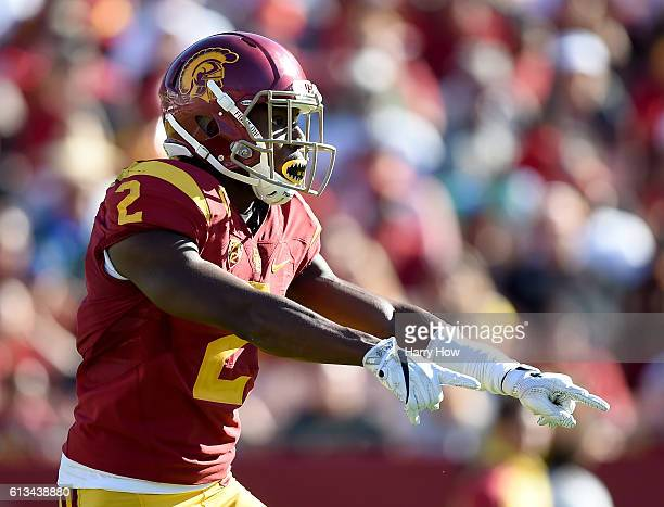 Adoree' Jackson of the USC Trojans reacts during a punt return against the Colorado Buffaloes at Los Angeles Memorial Coliseum on October 8 2016 in...