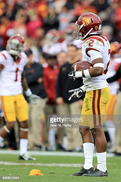Adoree' Jackson of the USC Trojans reacts to a penalty after a punt return in the first half against the Penn State Nittany Lions during the 2017...