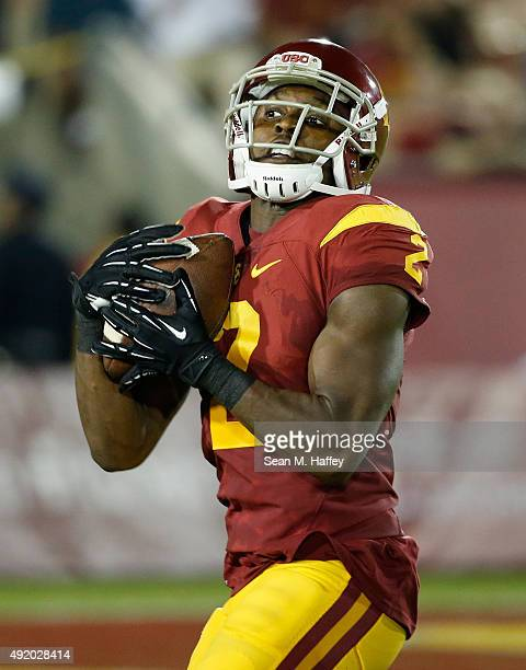 Adoree' Jackson of the USC Trojans recieves a punt during the second half of a game against the Washington Huskies at Los Angeles Memorial Coliseum...