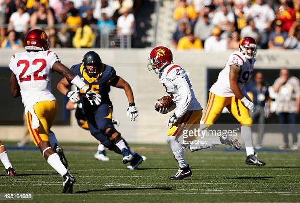 Adoree' Jackson of the USC Trojans returns a interception for a touchdown against the California Golden Bears at California Memorial Stadium on...