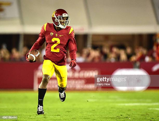 Adoree' Jackson of the USC Trojans runs after his catch for a first down during the first quarter against the Arizona Wildcats at Los Angeles...