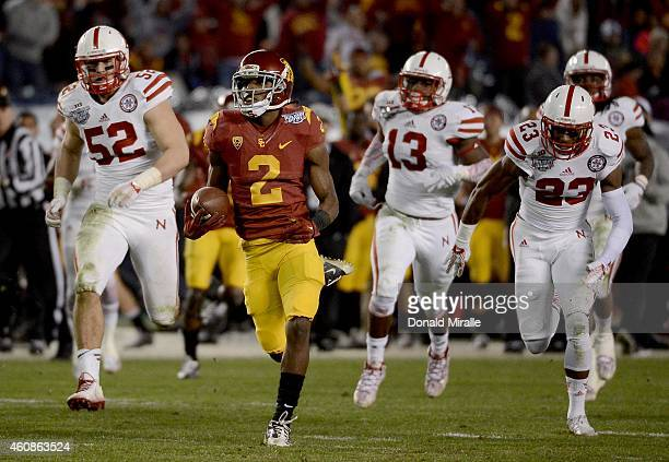 Adoree' Jackson of the USC Trojans runs for a touchdown en route to his team's 4542 win over the Nebraska Cornhuskers during the 2nd half of the...