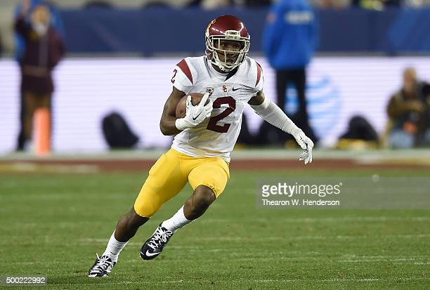 Adoree' Jackson of the USC Trojans runs with the ball after catching a pass against the Stanford Cardinal during the the NCAA Pac12 Championship game...
