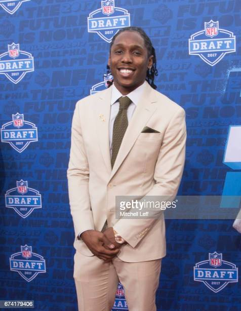Adoree' Jackson of USC poses for a picture on the red carpet prior to the start of the 2017 NFL Draft on April 27 2017 in Philadelphia Pennsylvania