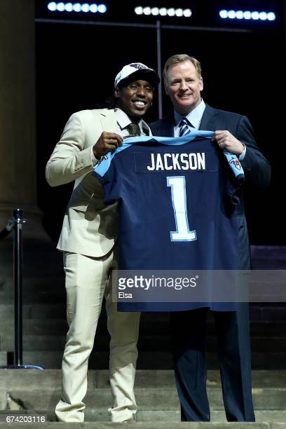 Adoree Jackson of USC poses with Commissioner of the National Football League Roger Goodell after being picked overall by the Tennessee Titans during...