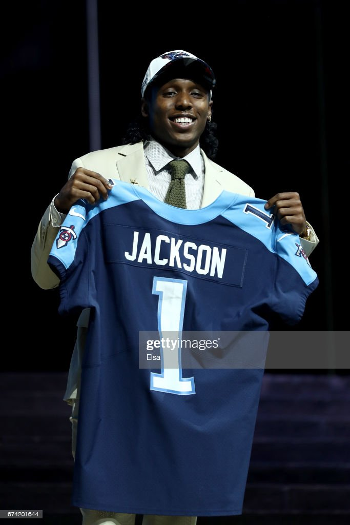 Adoree Jackson of USC reacts after being picked #18 overall by the Tennessee Titans during the first round of the 2017 NFL Draft at the Philadelphia Museum of Art on April 27, 2017 in Philadelphia, Pennsylvania.