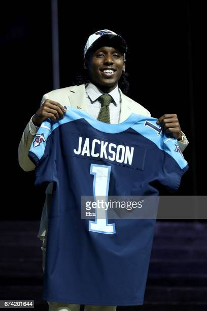 Adoree Jackson of USC reacts after being picked overall by the Tennessee Titans during the first round of the 2017 NFL Draft at the Philadelphia...