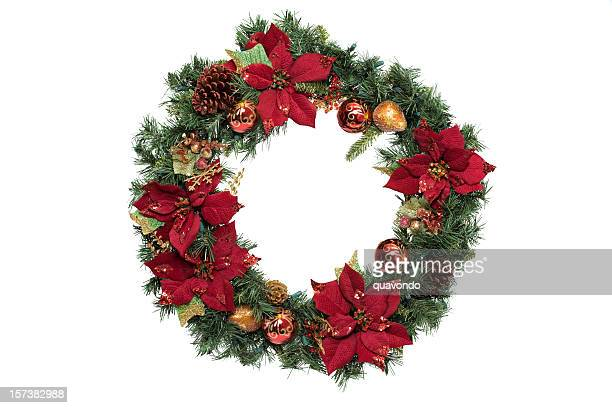 Adorned Christmas Wreath with Ornaments, on White, Copy Space