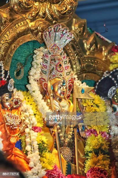 Adorned idol of Lord Murugan during the Sapara Thiruvilaa Puja at the Shri Muththumaari Amman Hindu Temple in Ontario Canada