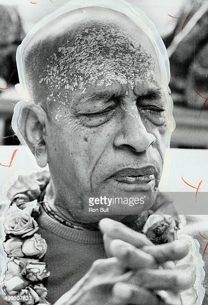 Adorned swami Ochre pigment on his forehead flowers around his neck the founder of this Eastern sect is known around the world to his Hare Krishna...