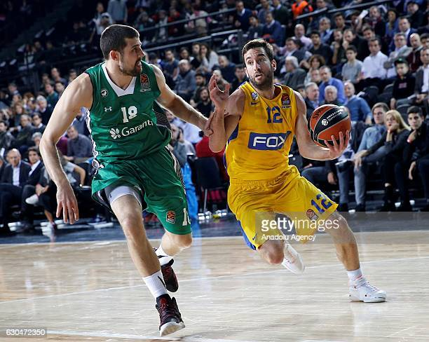Adrean Moerman of Darussafaka Dogus in action against Yogev Ohayon of Maccabi Fox Tel Aviv during the Turkish Airlines Euroleague basketball match...
