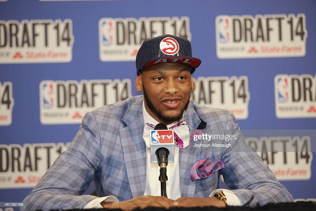 <a gi-track='captionPersonalityLinkClicked' href=/galleries/search?phrase=Adreian+Payne&family=editorial&specificpeople=7367769 ng-click='$event.stopPropagation()'>Adreian Payne</a> addresses the media after being selected 15th overall by the Atlanta Hawks during the 2014 NBA Draft on June 26, 2014 at the Barclays Center in Brooklyn, New York.