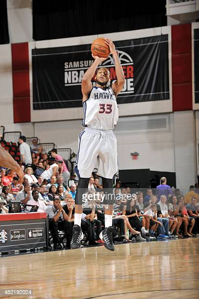 Adreian Payne of the Atlanta Hawks shoots against the Portland Trail Blazers during the Samsung NBA Summer League 2014 on July 15 2014 at the Cox...