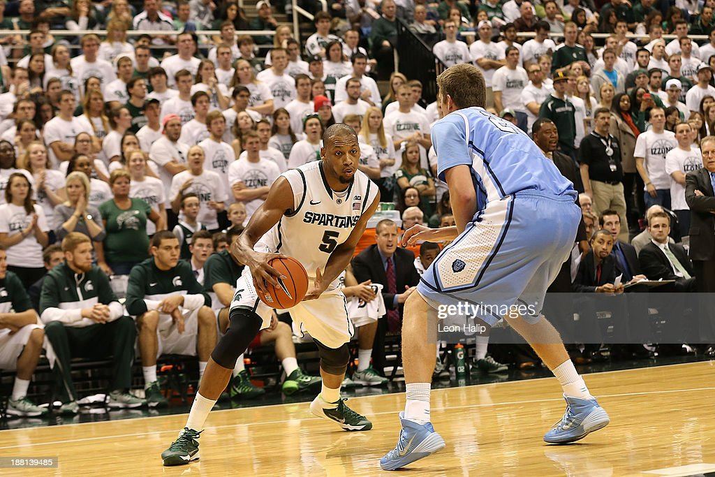 Adreian Payne #5 of the Michigan State Spartans drives the ball to the basket during the second half of the game against the Columbia Lions at Breslin Center on November 15, 2013 in East Lansing, Michigan. Michigan State defeated Columbia 62-53.