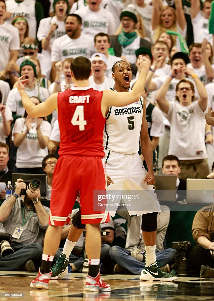 Adreian Payne #5 of the Michigan State Spartans reacts afar making a second-half basket against the Ohio State Buckeyes at the Breslin Center on January 19, 2013 in East Lansing, Michigan. Michigan State won the game 59-56.