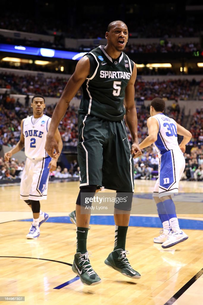 Adreian Payne #5 of the Michigan State Spartans reacts after he dunked in the first half against the Duke Blue Devils during the Midwest Region Semifinal round of the 2013 NCAA Men's Basketball Tournament at Lucas Oil Stadium on March 29, 2013 in Indianapolis, Indiana.