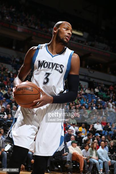 Adreian Payne of the Minnesota Timberwolves during the game against the New Orleans Pelicans on April 13 2015 at Target Center in Minneapolis...