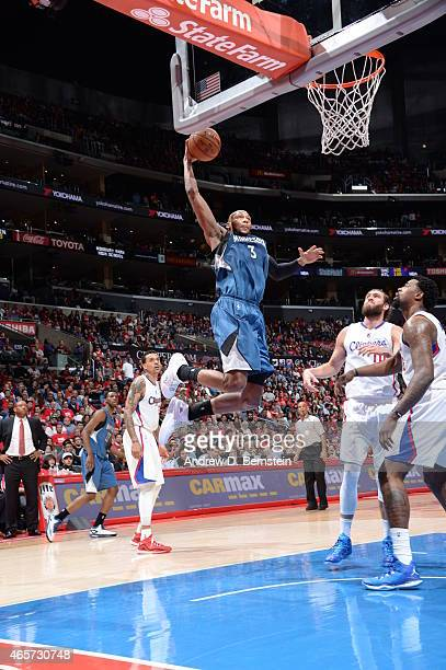 Adreian Payne of the Minnesota Timberwolves goes to the basket against the Los Angeles Clippers on March 9 2015 at Staples Center in Los Angeles...