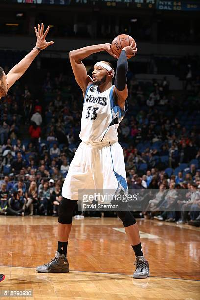Adreian Payne of the Minnesota Timberwolves handles the ball against the Los Angeles Clippers on March 30 2016 at Target Center in Minneapolis...