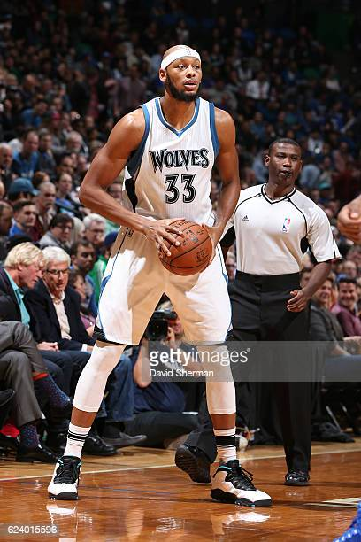 Adreian Payne of the Minnesota Timberwolves handles the ball against the Philadelphia 76ers on November 17 2016 at Target Center in Minneapolis...
