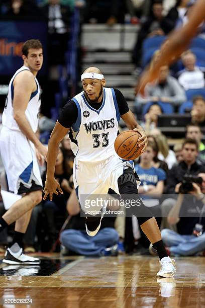 Adreian Payne of the Minnesota Timberwolves handles the ball during the game against the Houston Rockets on April 11 2016 at Target Center in...