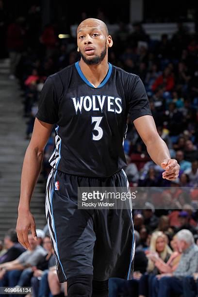 Adreian Payne of the Minnesota Timberwolves looks on during the game against the Sacramento Kings on April 7 2015 at Sleep Train Arena in Sacramento...
