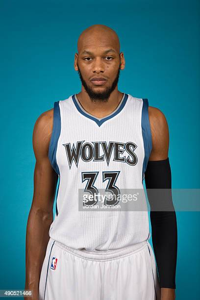 Adreian Payne of the Minnesota Timberwolves pose for portraits during 2015 Media Day on September 28 2015 at Target Center in Minneapolis Minnesota...