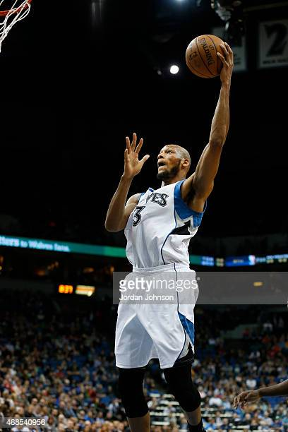 Adreian Payne of the Minnesota Timberwolves shoots against the Orlando Magic during the game on April 3 2015 at American Airlines Center in...