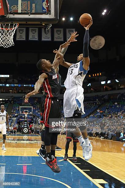 Adreian Payne of the Minnesota Timberwolves shoots the ball against the Miami Heat on November 5 2015 at Target Center in Minneapolis Minnesota NOTE...