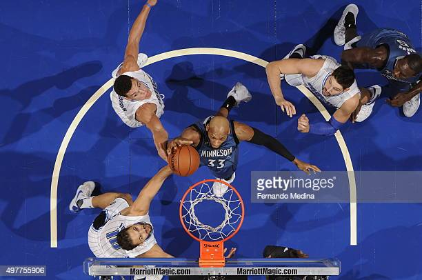 Adreian Payne of the Minnesota Timberwolves shoots the ball against the Orlando Magic on November 18 2015 at Amway Center in Orlando Florida NOTE TO...