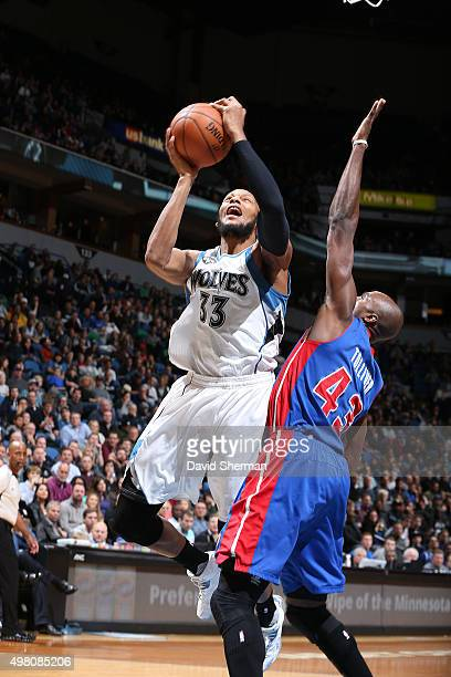 Adreian Payne of the Minnesota Timberwolves shoots the ball against the Detroit Pistons on November 20 2015 at Target Center in Minneapolis Minnesota...
