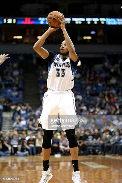 Adreian Payne of the Minnesota Timberwolves shoots the ball during the game against the Houston Rockets on April 11 2016 at Target Center in...