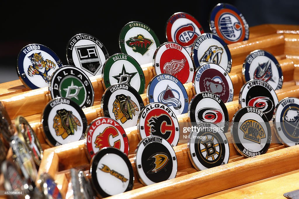 Adrenaline Challenge Coins shows it's coins at the 2014 NHL Exchange at Pepsi Center on July 23, 2014, in Denver, Colorado.