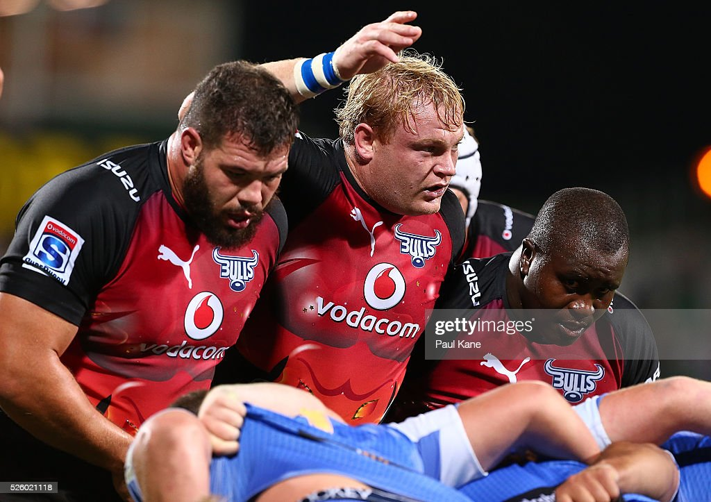 Adriaan Strauss of the Bulls looks to Referee Jaco van Heerden before setting the scrum during the round 10 Super Rugby match between the Force and the Bulls at nib Stadium on April 29, 2016 in Perth, Australia.