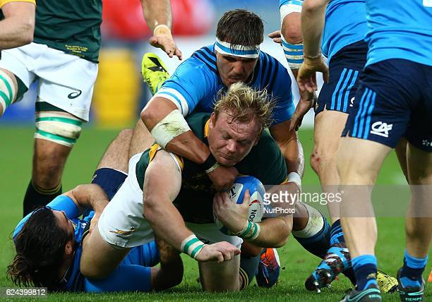 Adriaan Strauss tackled by Andries Van Schalkwyk during the international match between Italy v South Africa at Stadio Olimpico on November 19 2016...
