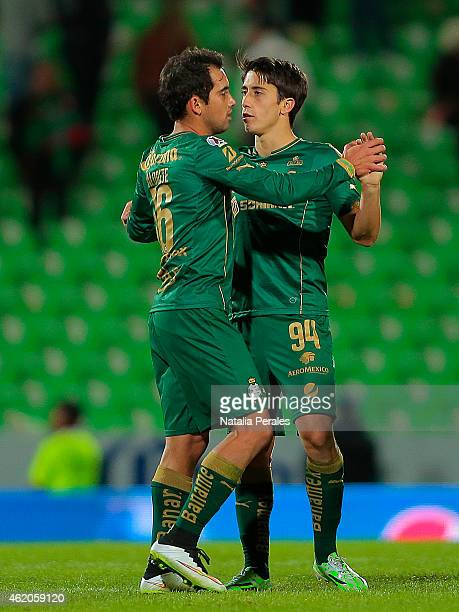 Adrian Aldrete and Jose Javier Abella of Santos celebrate the victory after a match between Santos Laguna and Monterrey as part of 3rd round Clausura...