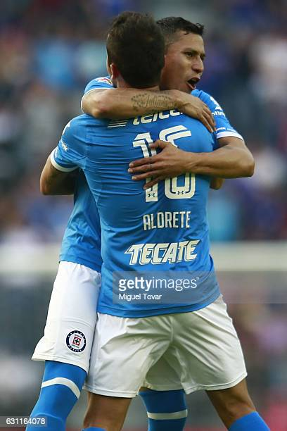 Adrian Aldrete of Cruz Azul celebrates after scoring his team's first goal during the 1st round match between Cruz Azul and Necaxa as par of the...