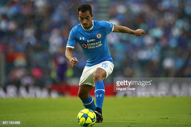 Adrian Aldrete of Cruz Azul controls the ball during the 1st round match between Cruz Azul and Necaxa as par of the Torneo Clausura 2017 Liga MX at...