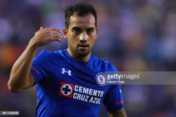 Adrian Aldrete of Cruz Azul reacts during the 13th round match between Cruz Azul and America as part of the Torneo Apertura 2017 Liga MX at Azul...