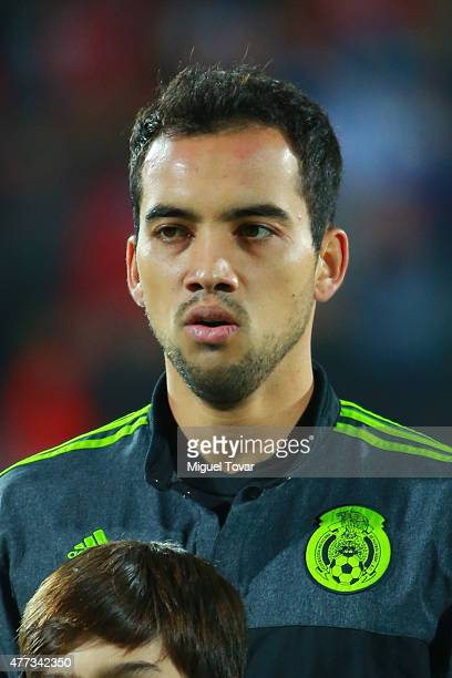 Adrian Aldrete of Mexico looks on during the national anthem ceremony prior the 2015 Copa America Chile Group A match between Chile and Mexico at...