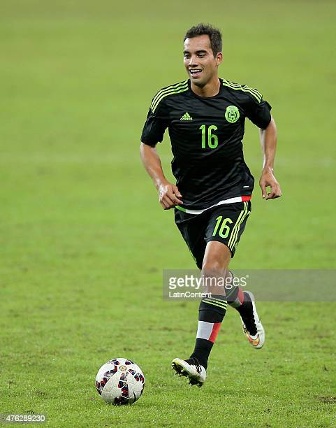Adrian Aldrete of Mexico runs with the ball during a friendly match between Brazil and Mexico at Allianz Parque Stadium on June 07 2015 in Sao Paulo...